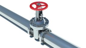 Steel pipeline with red valve.  Royalty Free Stock Image