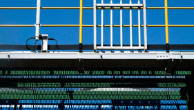 Steel pipelines and staircase in a plant Royalty Free Stock Photo
