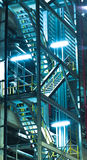 Steel pipelines and staircase in a plant Royalty Free Stock Images