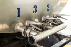 Steel pipelines and valves Stock Photos