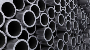 Steel pipes. 3d render of steel pipes Stock Photo