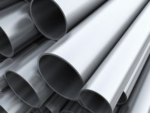 Steel pipes. Closeup 3d image of steel pipes Royalty Free Stock Photography