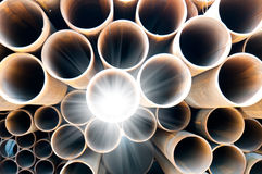 Steel pipes. Many steel pipes of Russian factory Stock Photos