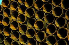 Steel pipes. A stack of steel pipes royalty free stock image