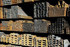 Steel pipes. In a steel market Stock Photo
