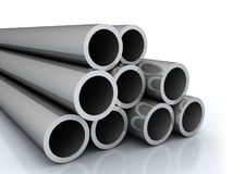 Steel pipes. A set of large steel pipes on white background Royalty Free Stock Image