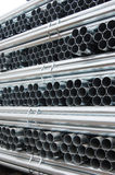 Steel pipes. A pile of steel pipes Stock Photo