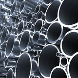 Steel pipes. Lot of folded steel pipes. 3d Royalty Free Stock Photo