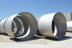 Steel Pipes. Steel tubes to build storage tanks Stock Photos