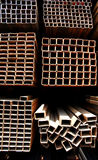 Steel pipes. Abstract close up of a stack of steel pipes in China stock photo