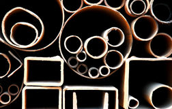 Steel pipes. Abstract close up of a stack of steel pipes in China royalty free stock photos