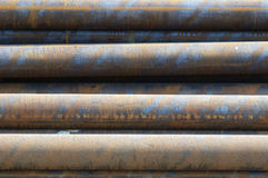 Steel pipes. A pile of big steel pipes Stock Photo