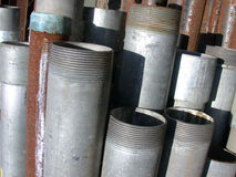 Steel Pipes. Collection of vertical steel pipes Royalty Free Stock Photos