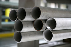 Steel Pipes. Stock of steel pipes used for construction stock image