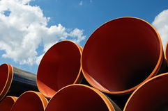 Steel pipes against blue sky Stock Photography