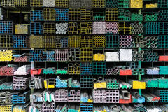 Steel Pipes bunch on the rack in warehouse royalty free stock photos
