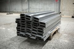 Steel pipes bunch in warehouse Stock Photo