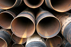 Steel pipes closeup Stock Photos