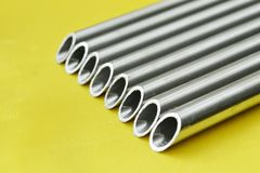 Steel pipes closeup Stock Photography