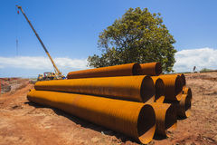 Steel Pipes Construction Site Royalty Free Stock Image