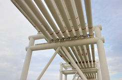 Steel pipes in crude oil factory Stock Images