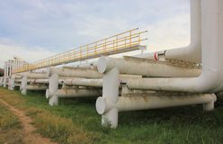 Steel pipes in crude oil factory Royalty Free Stock Images