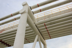 Steel pipes in crude oil factory Stock Image
