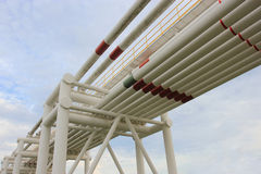 Steel pipes in crude oil factory Stock Photography