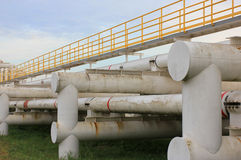 Steel pipes in crude oil factory Royalty Free Stock Photos