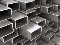 Steel pipes. 3d image of steel pipes Stock Photos