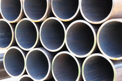 Steel pipes front view. Stack of steel pipes from front view Stock Image