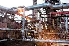 Steel pipes on industrial enterprise Royalty Free Stock Photos