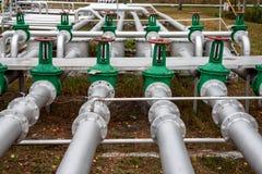 Steel pipes on industrial enterprise Stock Image