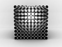 Steel pipes isolated on white background. 3D Stock Photos