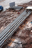 Steel pipes on a newly industrial enterprises Stock Photo