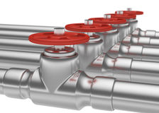 Steel pipes series with red valves, small DOF Royalty Free Stock Photography