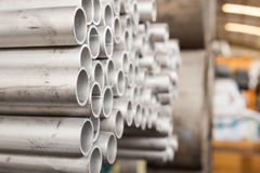Steel pipes stacked Royalty Free Stock Photos