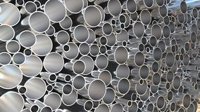 Steel pipes storage, loopable 3D animation. Steel pipes loopable 3D animation stock illustration