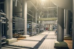 Steel pipes and storage reservoirs for beer fermentation of modern brewery factory as abstract industrial background royalty free stock image