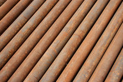 Steel Pipes texture background. Rusty MS Steel Pipes kept at a factory for fabrication Royalty Free Stock Photo