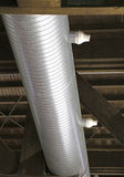 Steel pipes to a heating plant in the industrial structure Royalty Free Stock Photography