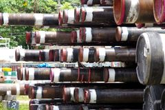 Pile of pipes used in Oil and Gas industry. royalty free stock photography