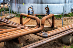 Steel pipes with valves Stock Photo