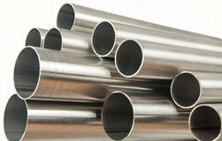 Steel pipes. On white background royalty free stock photos