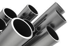 Steel Pipes on a white background Stock Photos