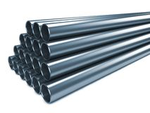Steel Pipes on White Background. royalty free stock photo