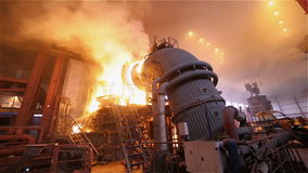 Steel Plant. Blast Furnance. Flaming Fire, Sparks and Smoke. Wide Panorama stock footage