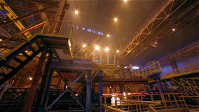 Steel Plant. Constructions and Sparks. Wide Panorama stock video