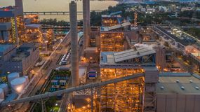 Steel plant, Metallurgical plant, Metallurgical steelmaking factory, Aerial view.  stock photography