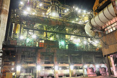Steel plant at night Royalty Free Stock Photos